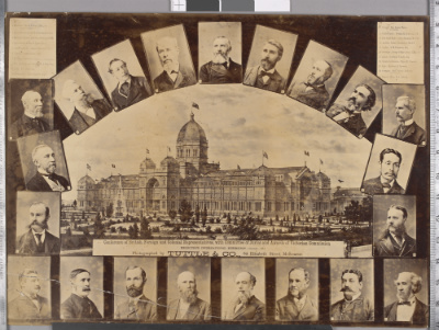 Photograph, the Exhibition Building (centre), Carlton and Committee of Juries and Awards of Victorian Commission, November 1880. Committee members listed with each image a bust portrait with number corresponding to list.