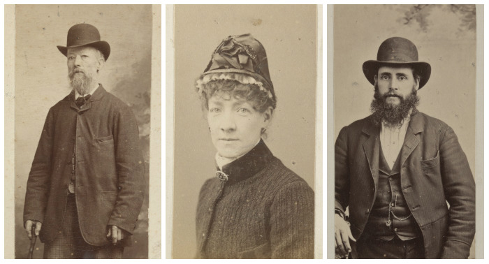 Photographs, three portraits, L Mushialla [i.e. Muscialli or Muschialli] to left, Mrs M Clarke in centre, A Hocking on right.