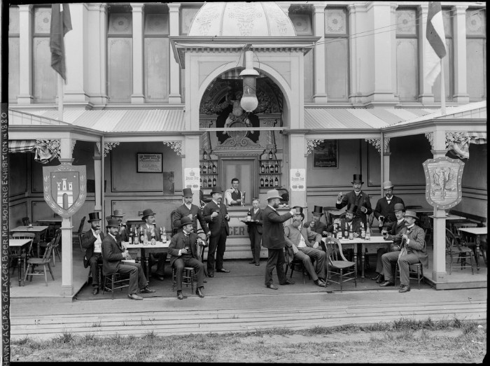 Photograph, German Beer Hall, Centennial International Exhibition, men seated drinking beer