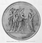 "Print, wood engraving of circle-shaped Intercolonial Exhibition medal, Victoria, represents female figure as Victoria receiving her ""six sisters"" who each bring a contribution"