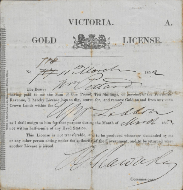 Gold Licence issued to William Pettard, Upper Lodden, March 1852.