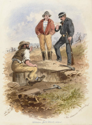 Watercolour, two miners beside their claim, pick lying next to the hole, one seated on bucket, the other standing. A uniformed man with a rifle is examining their miners' license.