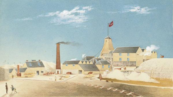 Watercolour, shows above-ground workings and mullocks, railway track, chimney stack and tower with flag on top, the red flag has a Union Jack in upper left corner and 'Park' printed on the right.