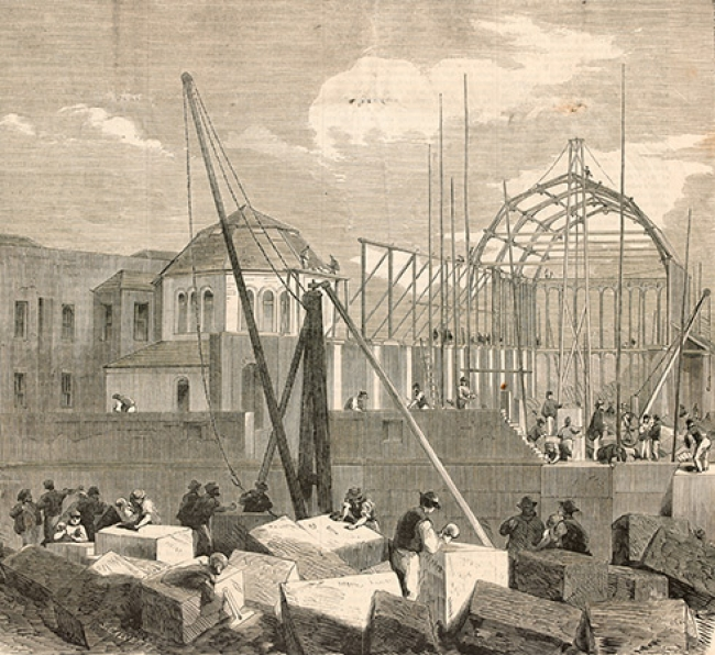 Wood engraving, construction scene of the works at the Intercolonial Exhibition Building, Melbourne, Pictures collection