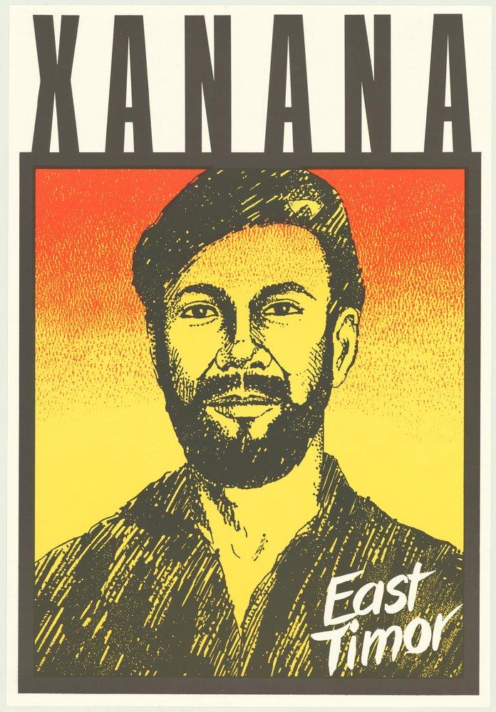Political poster, Xanana, ECPO East Timor. 1991, from Riley Ephemera collection
