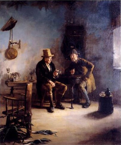 Small image of two men talking in the interior of an Irish dwelling painted by Howard Helmick.