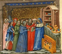 Medieval bookseller and his customers