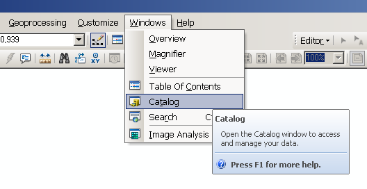 Open catalog window
