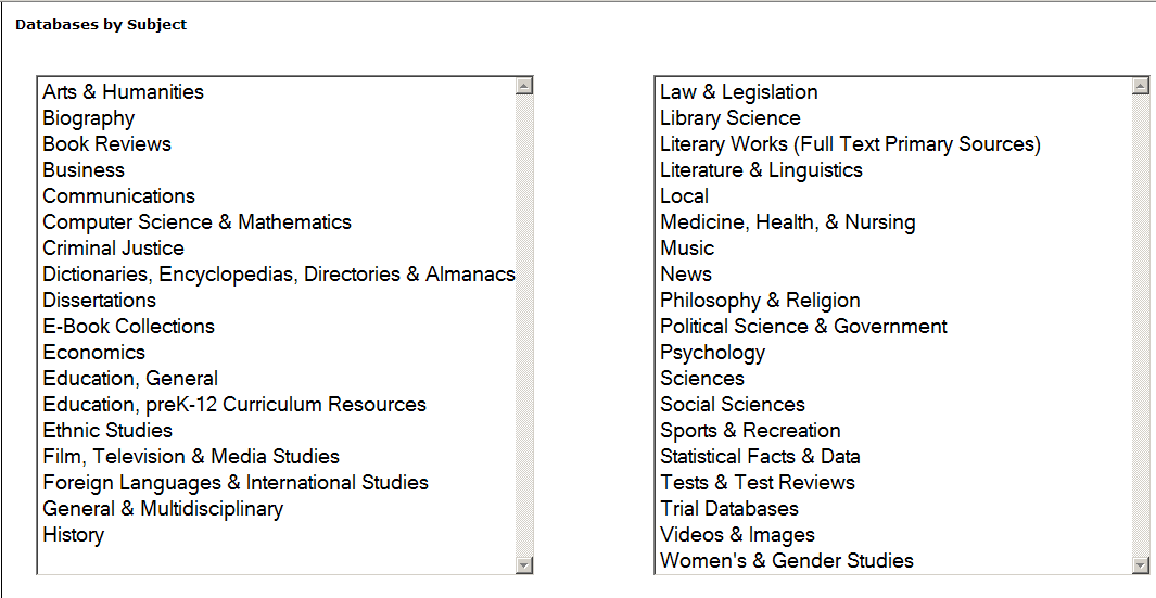Library database search