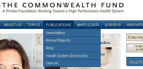 Screencapture of a navigation bar with a publications section