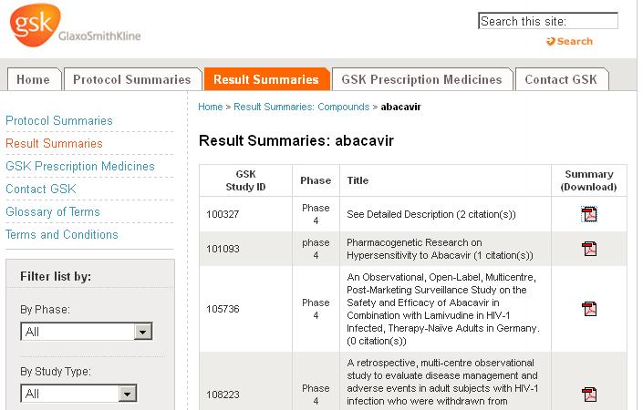 Screenshot of Glaxo Smith Kline's Clinical Study Register.