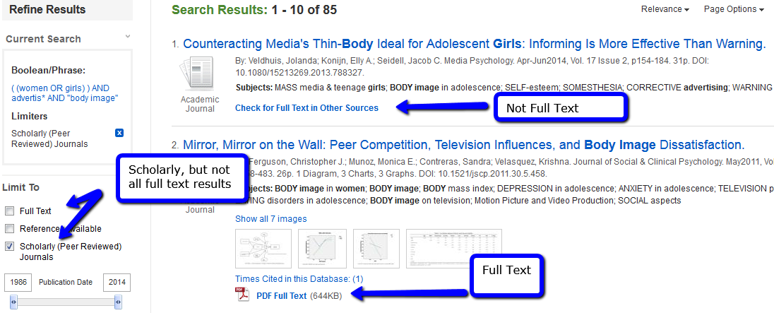 screenshot of a search, highlighting how you can choose to limit or not limit to full-text - and how you can look for an article in another database