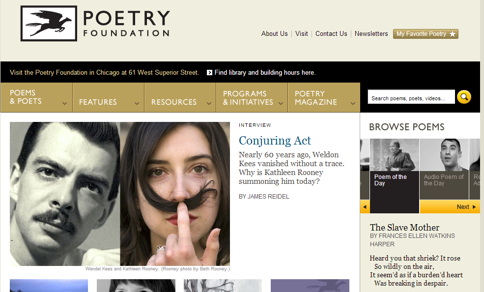 screenshot of the Poetry Foundation