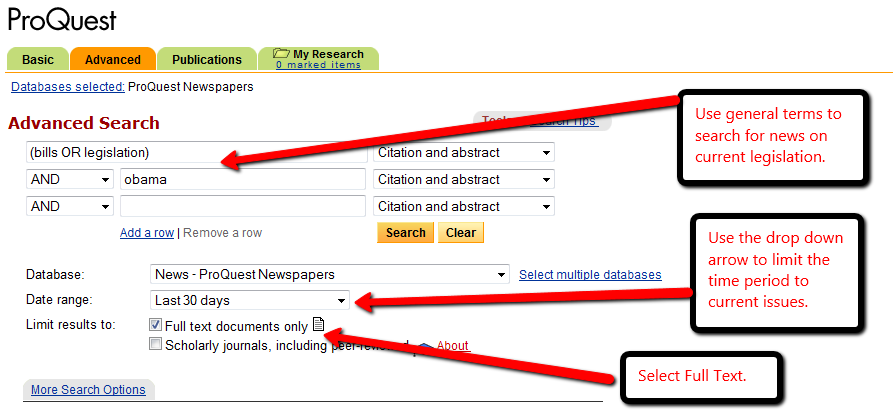 screen shot of a sample search in ProQuest Newspapers