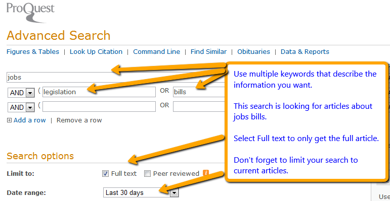 screen shots of sample ProQuest searches