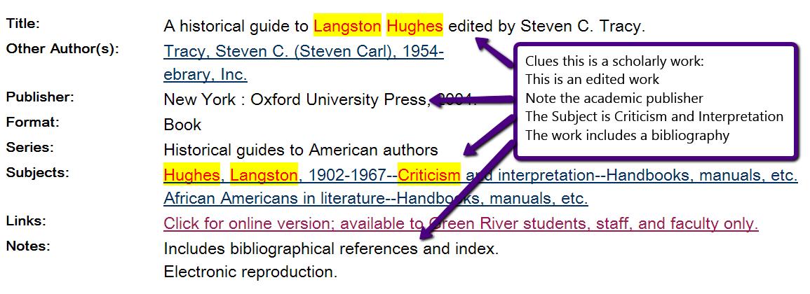 screenshot showing bibliographic info about a book