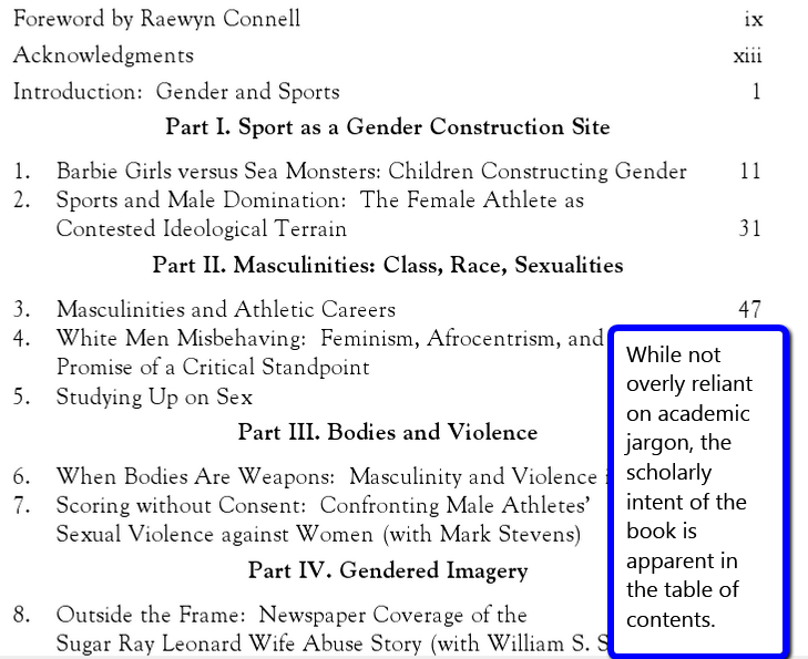 page of the ebook showing the table of contents