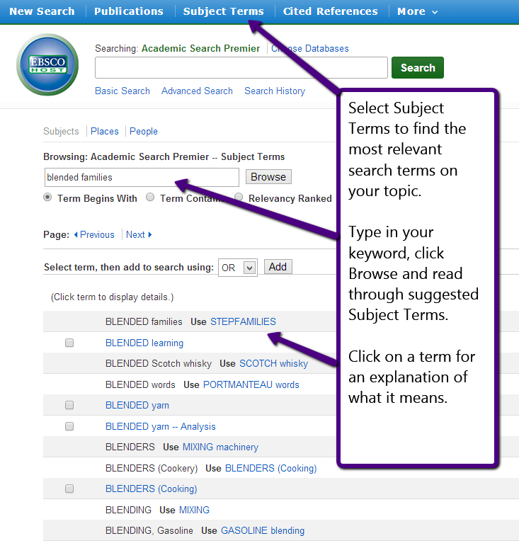 search page showing how to search by subject terms