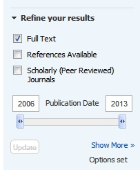 Refine your results section on results page in Academic Search Complete