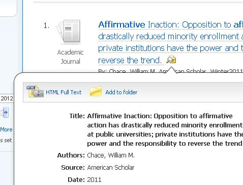 Viewing the article abstract in Academic Search Complete