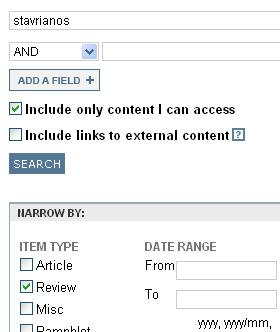Search for reviewed author in JSTOR