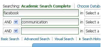 Sample search of Academic Search Complete