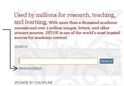 Front page of JSTOR database
