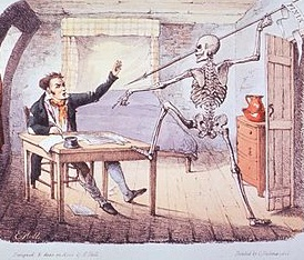 a color cartoon of an author at a desk facing off against a skeleton aiming a javelin at his heart.