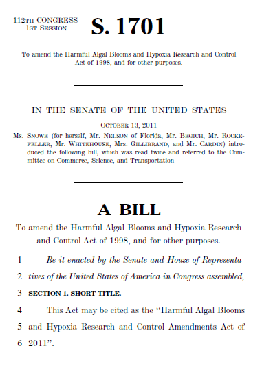 text of the first page of S.1701, a senate bill on algal bloom research.
