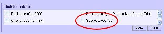 PubMed Bioethics limit