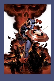 Captain America throws his mighty shield.