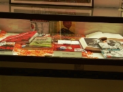 A closeup of the display case