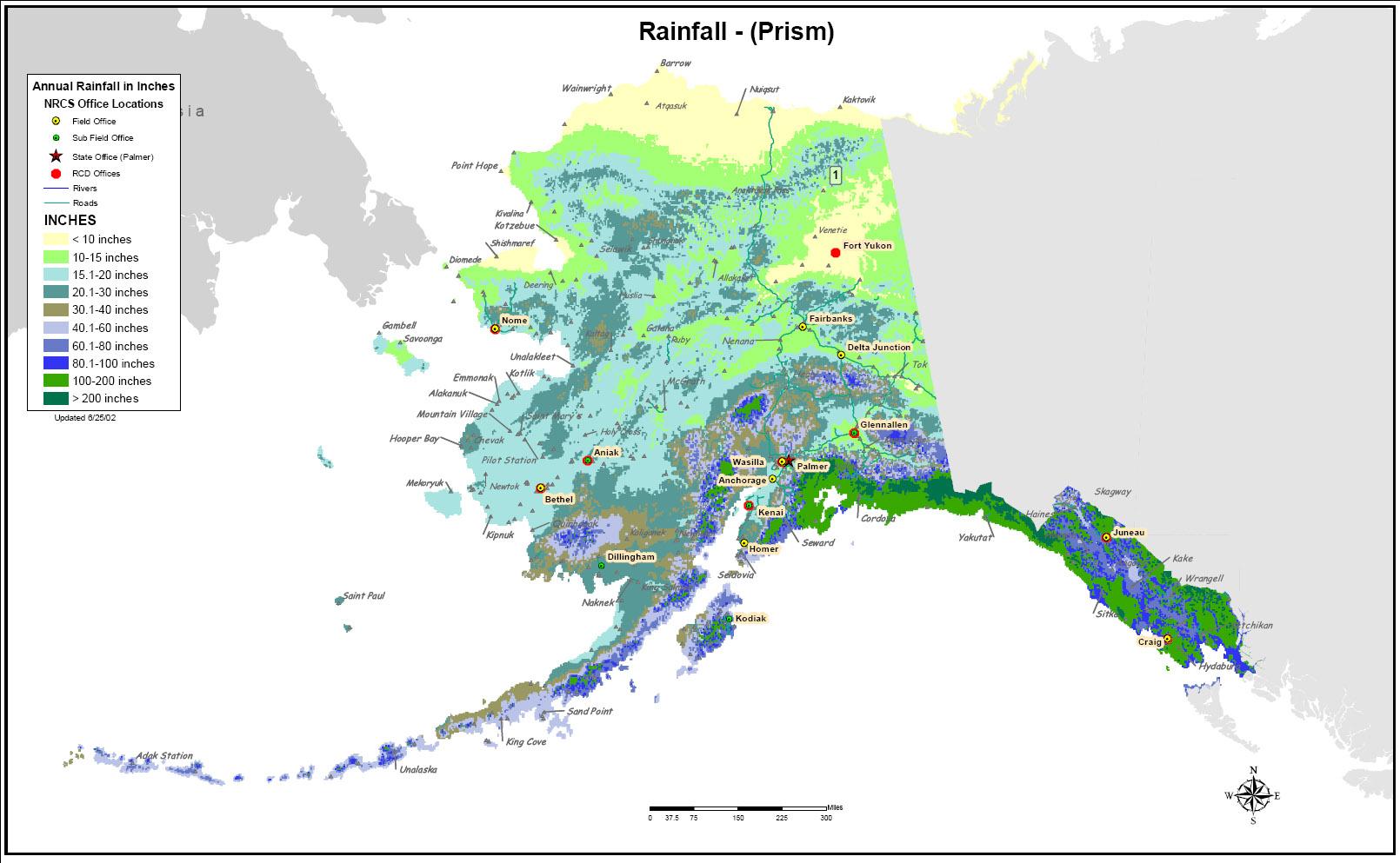 Alaska Rainfall map