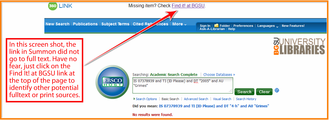 example shows when full text is not available FIND IT link should be chosen