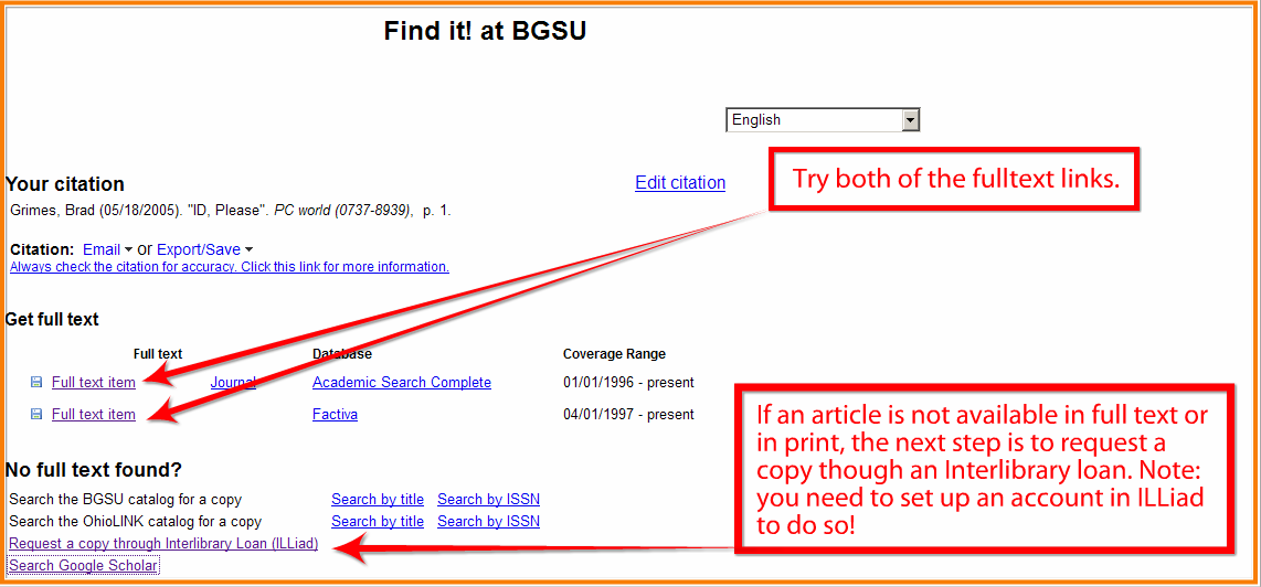 example shows if FIND IT takes you to page with Full text listed you can choose that and if not choose Request a copy through Interlibrary Loan