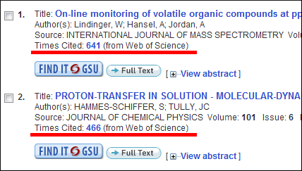 Search results with the Times Cited link underlined.