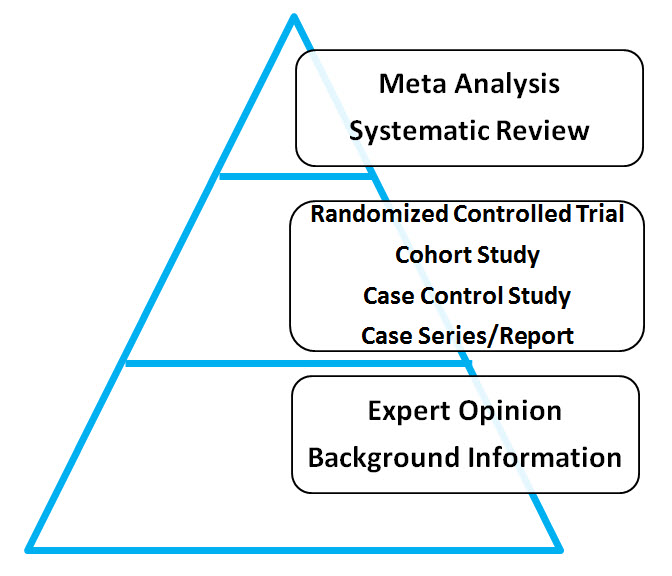 1. Meta Analysis, Systematic Review; 2. Randomized Control Trial, Cohort Study, Case Control Study, Case Series/Report; 3. Expert Opinion, Background Information