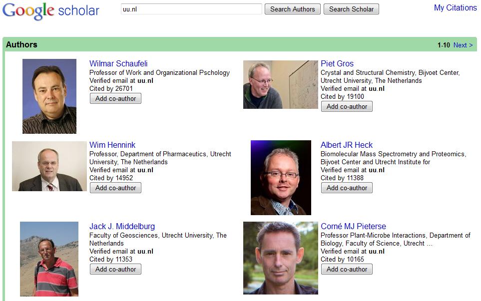 Google Scholar Citation Utrechters