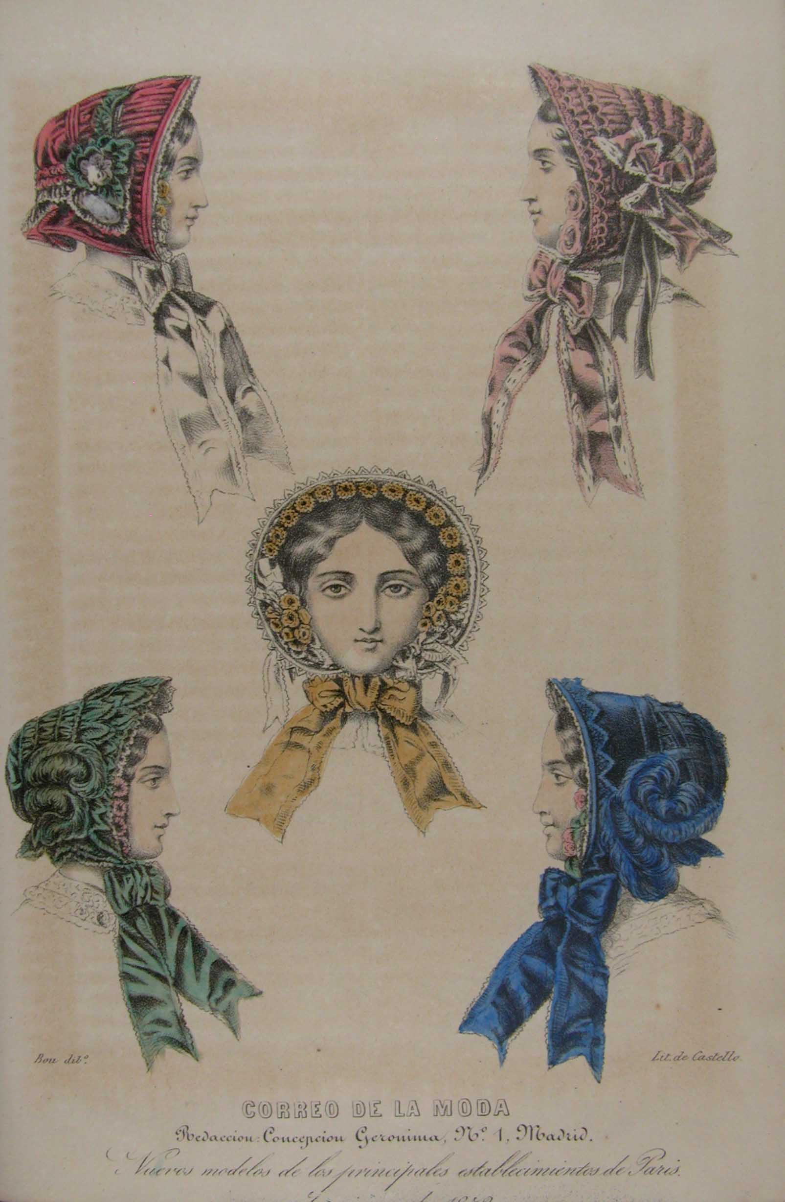 Parisean fashion print showing women hats
