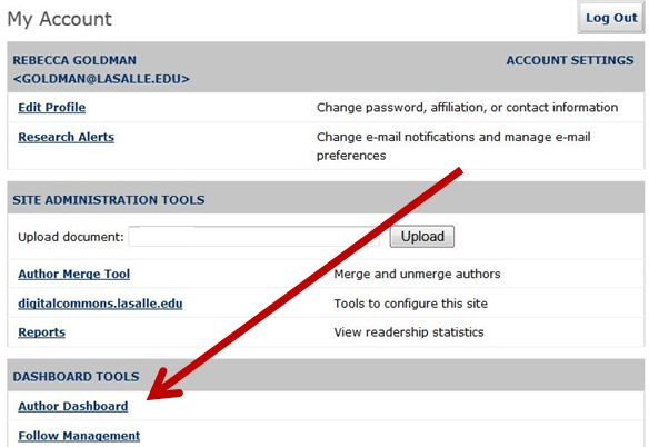 screenshot showing how to get to Author Dashboard