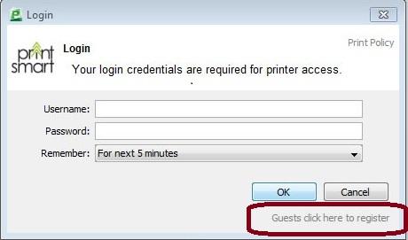 guest registration link on PrintSmart login box