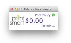 papercut balance window showing a $0.00 balance