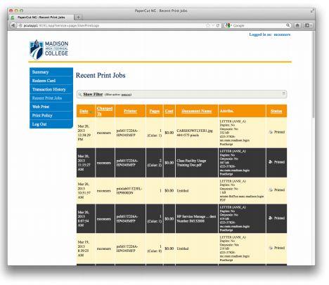 screenshot of recent print jobs in the online papercut interface