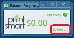 Screen capture of the print balance window