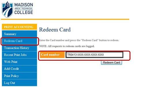 Redeem card page