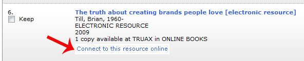 "screenshot of search results page. A red arrow is pointing to the text that reads ""Connect to this resource online"""
