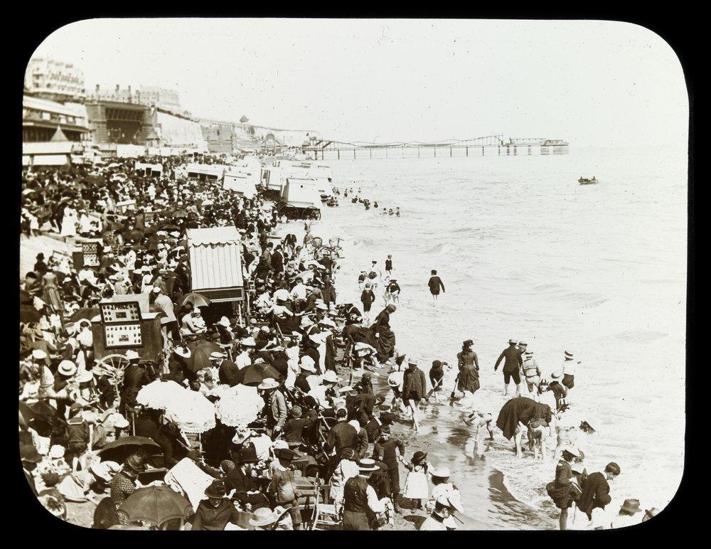 [Very crowded beach, possibly Blackpool, England],