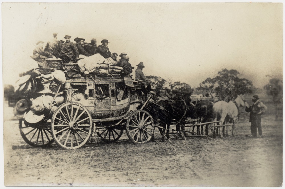 Chinese leaving for the diggings. Cobb & Co. coach, Castlemaine