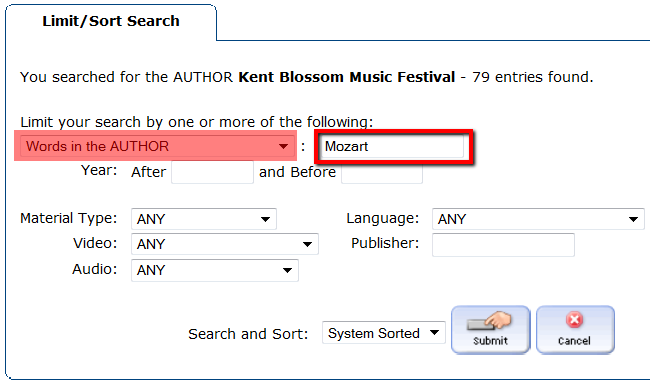 """After directions to """"Limit your search by one or more of the following"""" choose """"Words in the Author"""" from drop-down menu and type composer's name."""