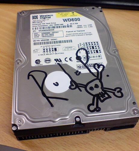 photograph of a dead hard drive.